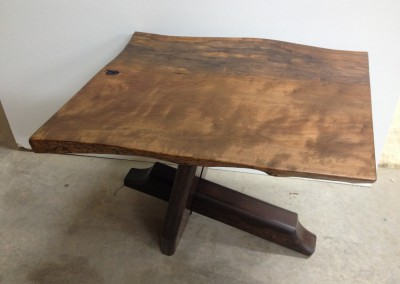 A reclaimed wood table.