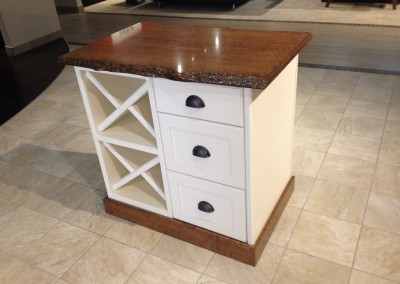 A Maple Topped White Kitchen Island